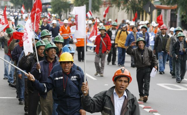Peruvian miners protest in the streets in Lima July 2, 2008. Workers have approv