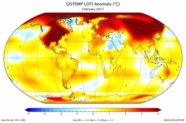 Anomalía de  temperatura de febrero