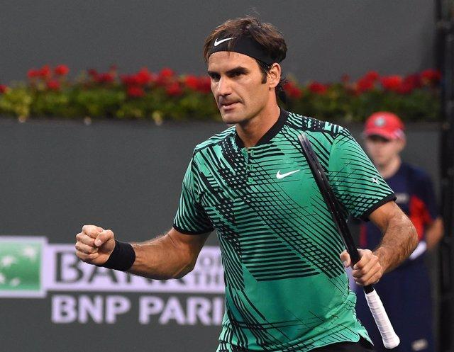 Roger Federer tras un partido en Indian Wells