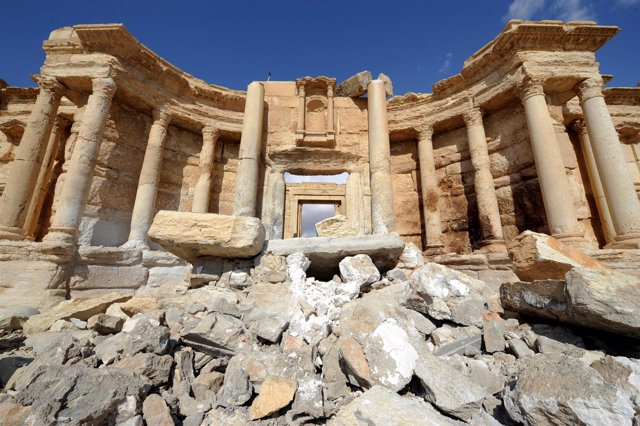 A general view shows damage in the amphitheater of the historic city of Palmyra,