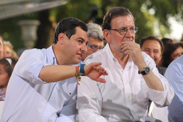 Juanma Moreno y Mariano Rajoy en Sevilla