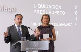 La Diputación de Málaga cierra 2016 con un superávit de 60 millones y una ejecución presupuestaria del 85%