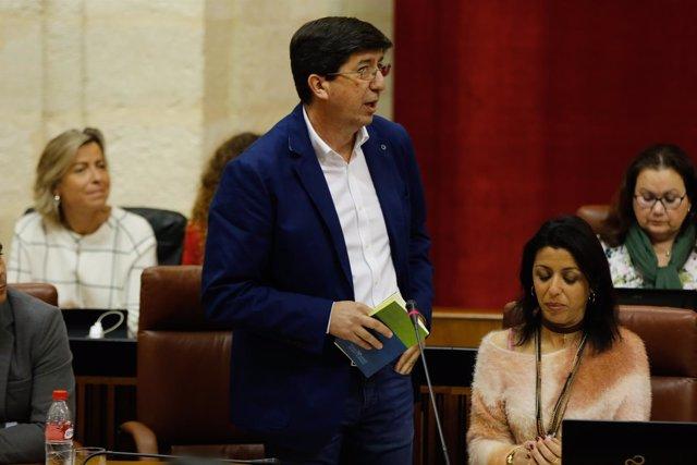 Juan Marín, hoy ante el Pleno del Parlamento