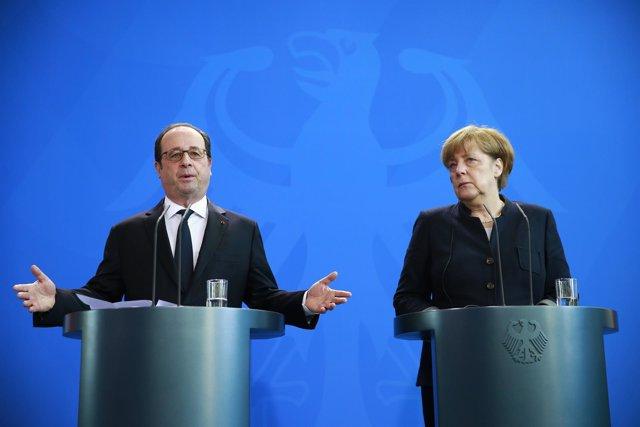 François Hollande y Angela Merkel