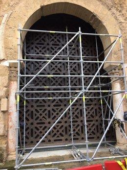 Obras de la segunda puerta  de la Mezquita para la entrada de procesiones