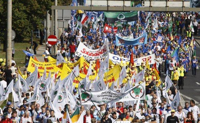 Manifestación Sindicalista En Polonia