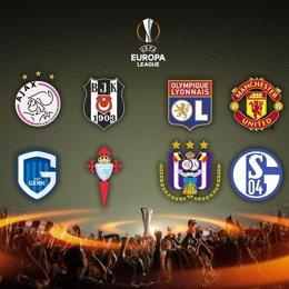 Equipos clasificados para cuartos de final Europa League 2016/17