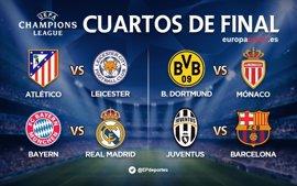Bayern-Real Madrid, Atleti-Leicester y Juventus-Barcelona, duelos de cuartos de final