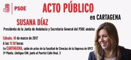 Susana Díaz celebra este sábado en Cartagena su primer acto de partido tras conocerse que se presentará a primarias PSOE