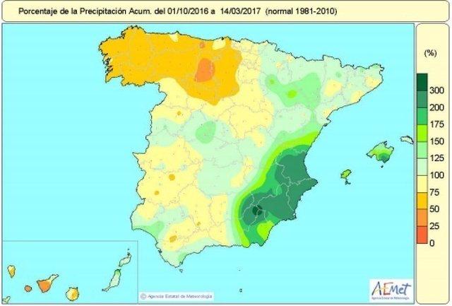 Distribución de las precipitaciones acumuladas en España desde octubre