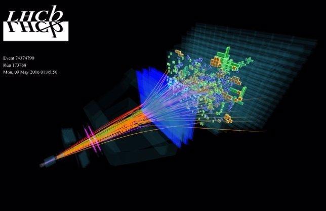 Piones, kaones y otras partículas se identifican por colores