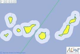 La Aemet decreta el riesgo amarillo por lluvias para este sábado en Canarias