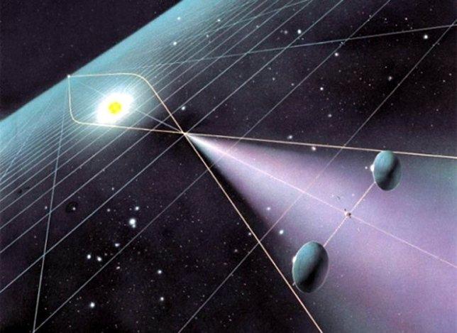 Esquema de telescopio con lente solar de Claudio Maccone