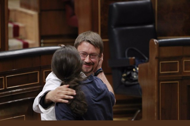 Xavier Domenech y Pablo Iglesias en el Congreso