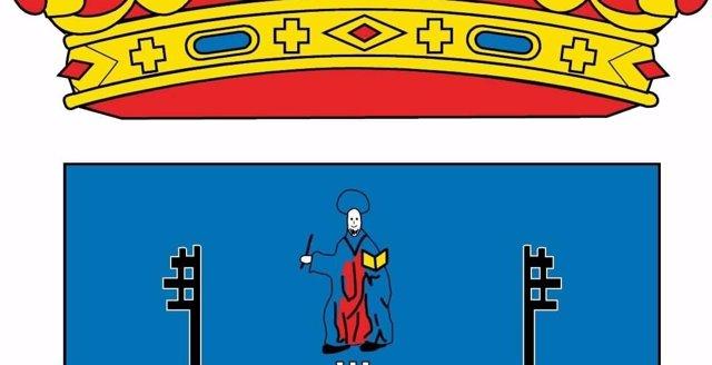 Detalle del escudo oficial de Alcalá.