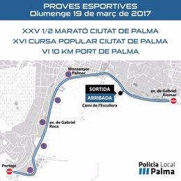 Restricciones de tráfico por la carrera Ciutat de Palma