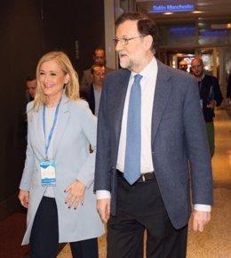 Mariano Rajoy y Cristina Cifuentes en el Congreso del PP de Madrid