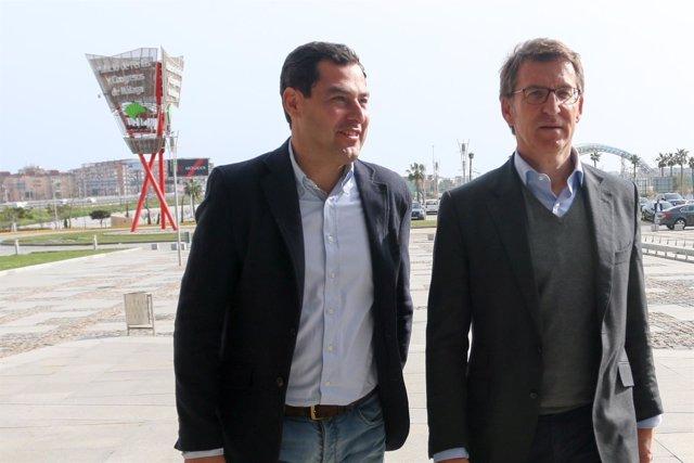 Moreno y Núñez Feijóo a la entrada del Congreso del PP-A