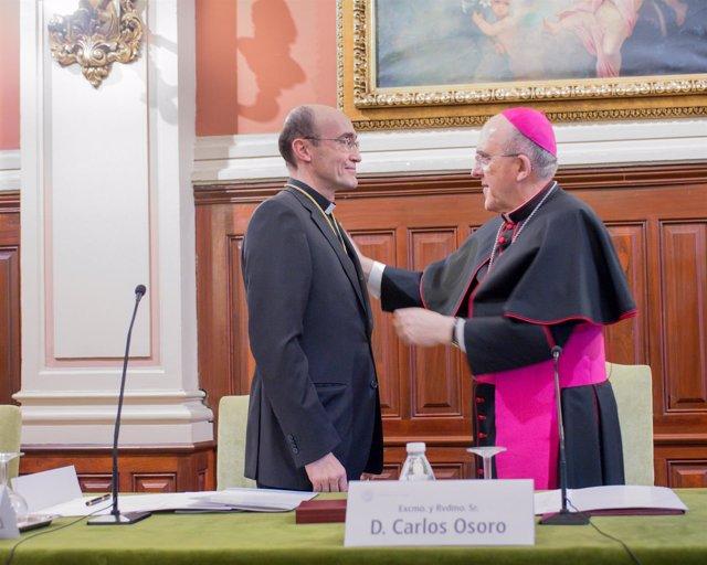 Javier María Prades, rector de San Dámaso, con el cardenal Carlos Osoro