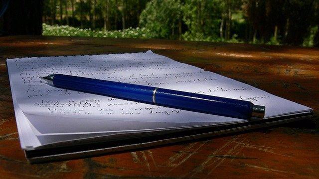 Escribir, carta, cuaderno, grafología, bolígrafo, letras