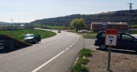 Tres heridos leves al colisionar dos vehículos en el cruce de Morentin