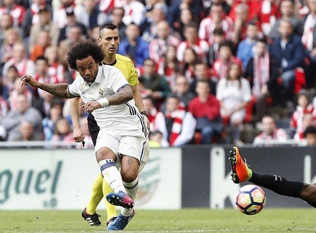 Marcelo Vieira, del Real Madrid, en el partido de San Mamés