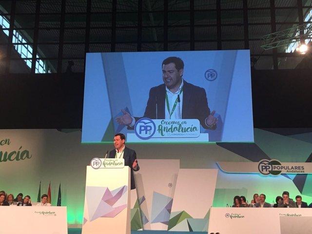 El presidente del PP-A, Juanma Moreno, en el Congreso Regional