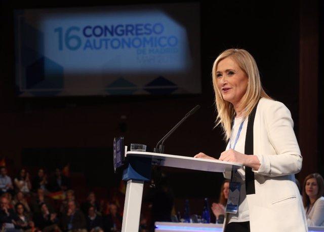 Cristina Cifuentes en el congreso regional del PP de Madrid