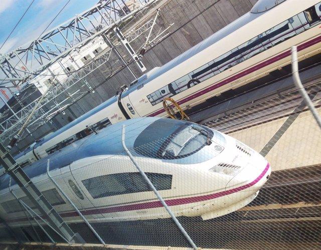 AVE, tren, vías, transporte, alta velocidad, viajar, estación