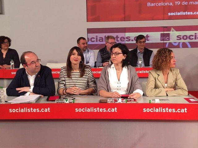 Miquel Iceta, Núria Parlon, Eva Granados y Meritxell Batet (PSC)