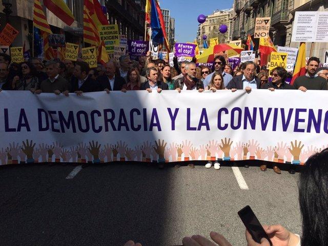 Manifestación de SCC contra el proceso independentsita en Barcelona