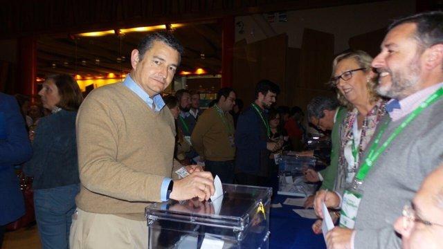 Antonio Sanz (PP) votando en el Congreso regional del PP-A
