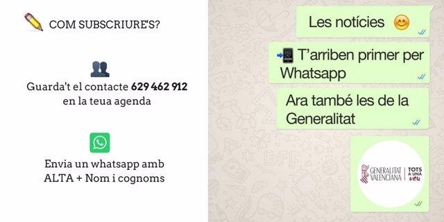 Servici d'alertes per Whatsapp de la Generalitat Valenciana