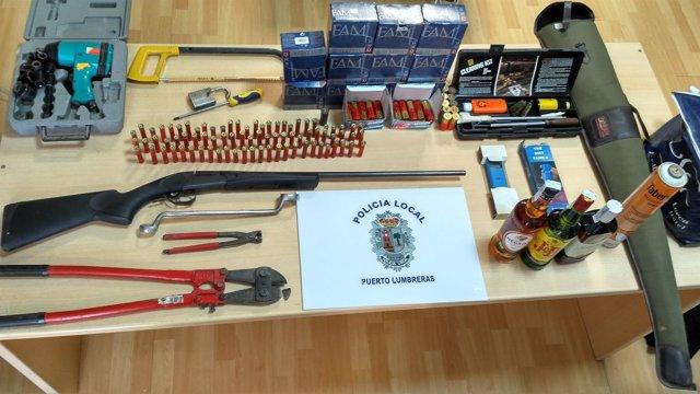 Imagen del material intervenido por la Policía Local de Puerto Lumbreras