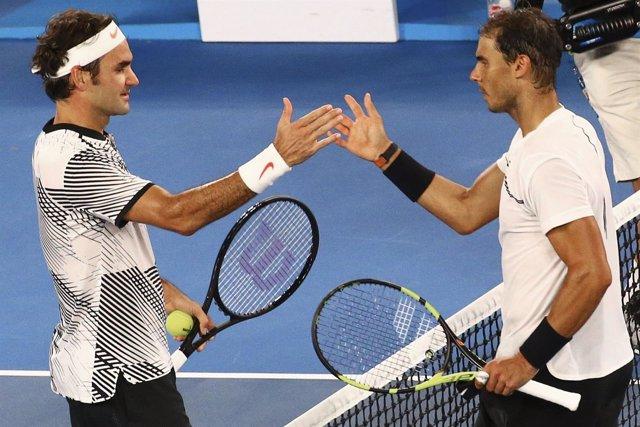 Federer y Nadal, en la final del Open de Australia.