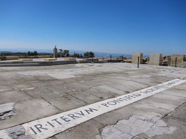 Vista parcial del foro romano de Torreparedones