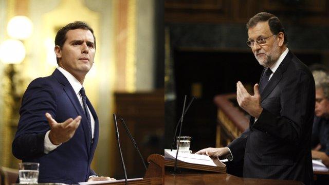 Albert Rivera y Rajoy en el debate de investidura en el Congreso