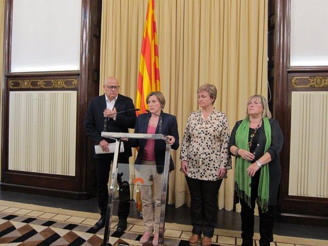 L.Corominas, C.Forcadel, A.Simó, R.Barrufet (de la Mesa del Parlament)