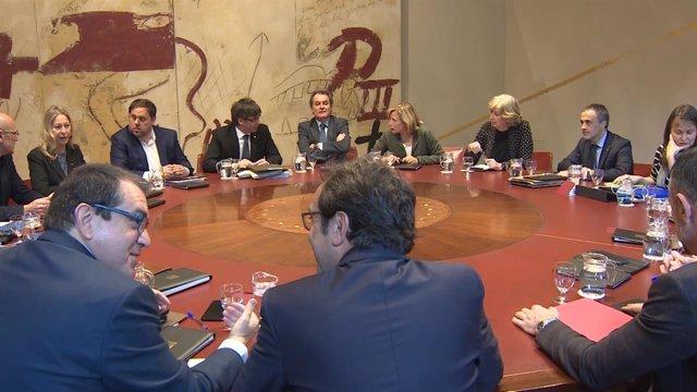 Reunión del Consell Executiu, con A.Mas, J.Ortega E.Rigau