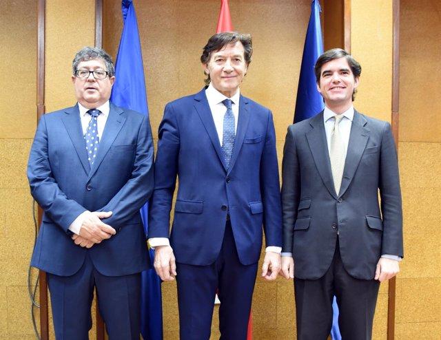 José Ramón Lete con José Luis Terreros (AEPSAD) y Jaime González