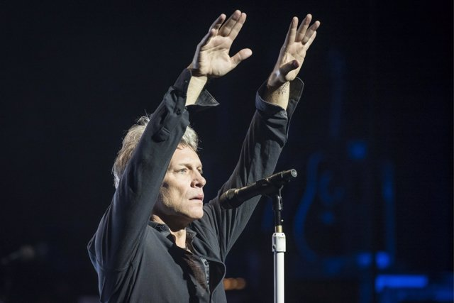 Jon Bon Jovi performs live on stage as Bon Jovi present songs from their new alb