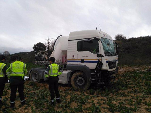 Camión accidente cuyo conductor ha fallecido