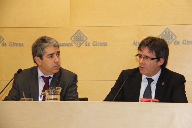 Francesc Homs y el alcalde de Girona, Carles Puigdemont