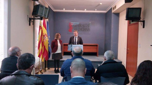 Elena Cebrián junto a Ximo Puig en la sede del Consell en la Casa de las Brujas