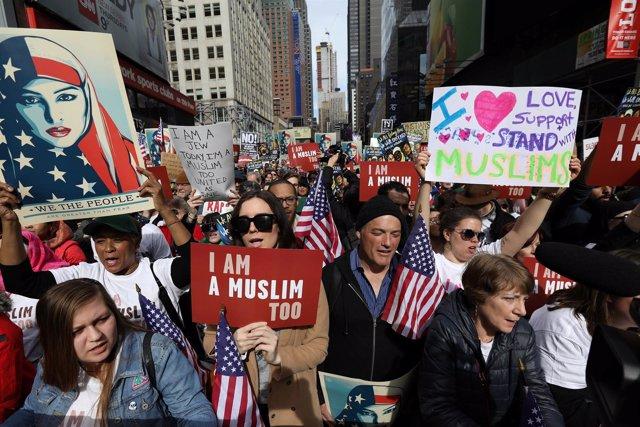 """Manifestación """"Yo también soy musulmán"""" en Nueva York"""