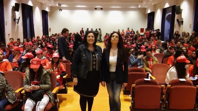 Amo (izda.) y Chacón, durante la inauguración de la prueba