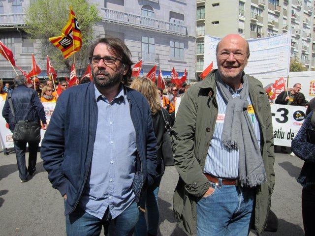 J.C.Gallego (CC.OO.) Y C.Ros (UGT)