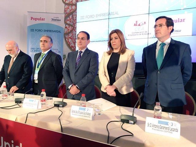 Susana Díaz presidenta Junta Andalucía con gonzalez de Lara CEA empresarios