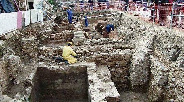 Restos romanos del palacio de Mayoralgo en Cáceres