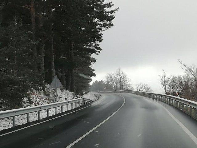 Carretera madrileña tras la nevada